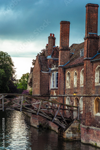Mathematical bridge in spring over Cam river, Cambridge, England