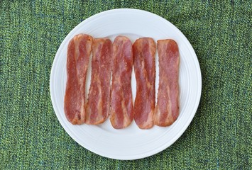 Bacon in plate