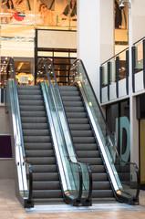 Escalator in a shopping mall, UK