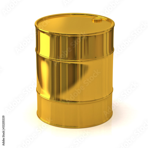 Golden oil barrel isolated on white background