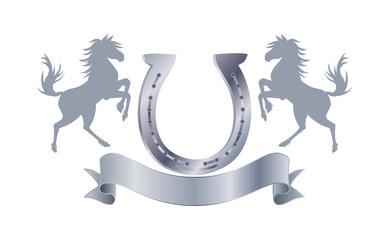 Reitabzeichen mit Hufeisen in Silber