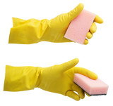 Yellow glove with a sponge isolated on white