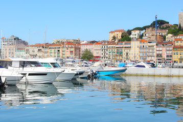 View on the city of Cannes and the old harbour.