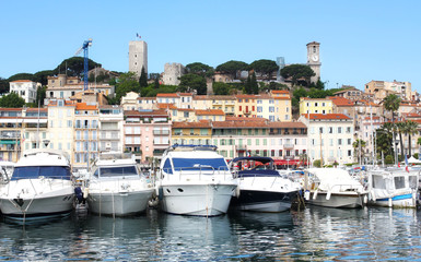 View on the city of Cannes and the old harbour