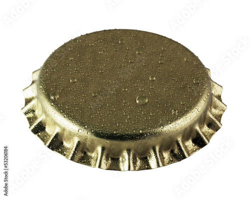 beer bottle cap close up macro Isolated on white