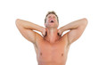 Man shouting and suffering from neck pain