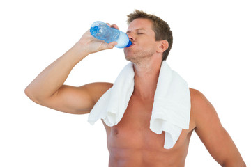 Man drinking water after he made efforts
