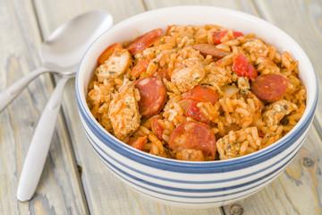 Creole Jambalaya - Rice with chicken, smoked sausage & tomatoes