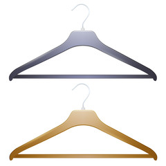 Two hangers on white background.