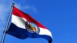 Missouri State Flag Waving On Blue Sky HD