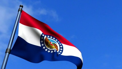 Missouri State Flag Waving On Blue Sky HD