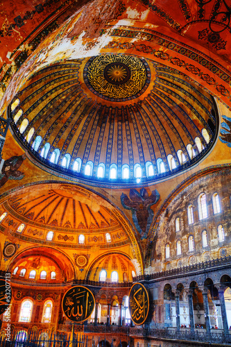Interior of Hagia Sophia in Istanbul, Turkey