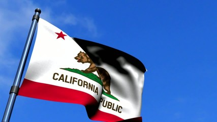 California State Flag Waving On Blue Sky HD
