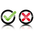 Glossy Keuz Haken Icons im Kreis