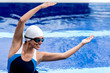 Synchronized female swimmer