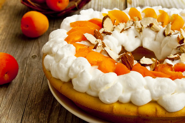 Apricot Tart with Whipped Cream and Flaked Almonds
