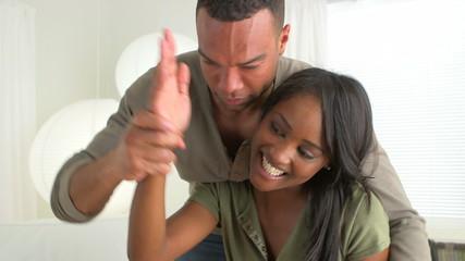 African boyfriend being silly with girlfriend