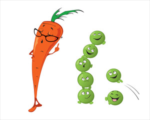 Funny cute vegetables - Carrot, Peas