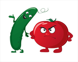 Funny cute vegetables - cucumber, tomato