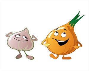 Funny cute vegetables - garlic, onion