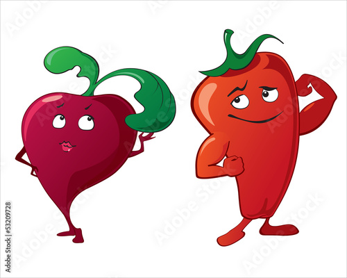 Funny cute vegetables - beet, pepper