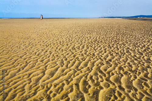 wet sand during low water on beach of English Channel