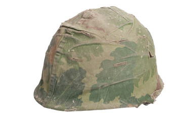 US Army M1 helmet with mitchell pattern camouflage cover