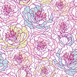 Vector colorful line art flowers elegant seamless pattern