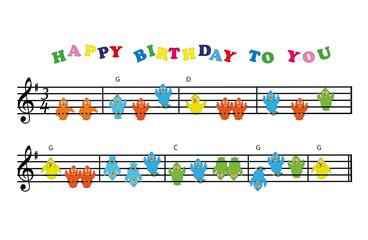 Happy Birthday Noten mit Vögel-Gesang
