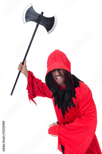 Executioner in red costume with axe on white