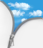 Fototapety Abstract background with zipper and cloudy sky. Vector.