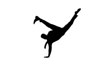 Silhouette of man with a tie breakdancing on white background