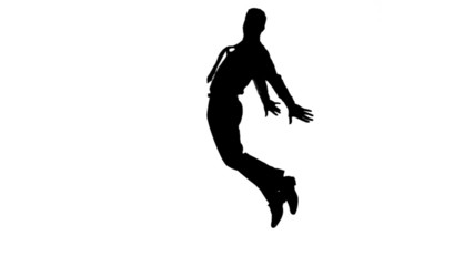 Silhouette of man with a tie jumping on white background