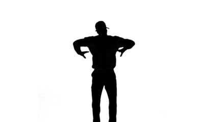 Silhouette of a man jumping with hands on hips