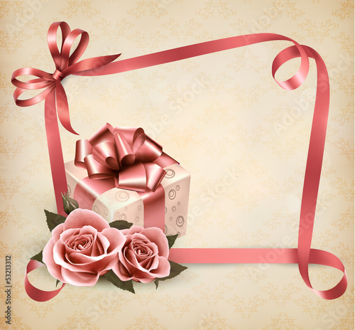 Holiday background with pink roses and gift box and ribbon. Vect