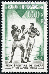 stamp printed in Dahomey (now Republic of Benin), shows boxer