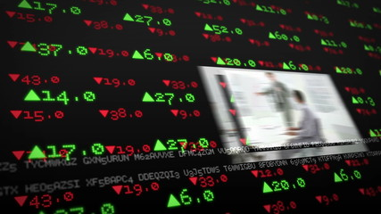 Screens showing business situations on stock market background