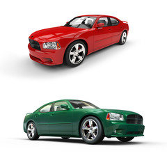 Two Cars Red And Green