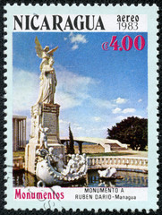 stamp shows the Monument of Ruben Dario in Managua