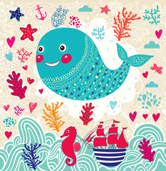 Vector marine illustration with funny whale