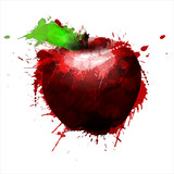 Apple made of colorful splashes on white background