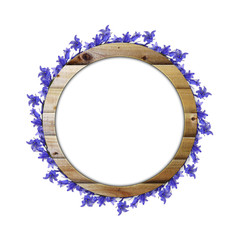 Circle frame of blue flowers