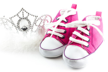Tiara crown and baby shoes