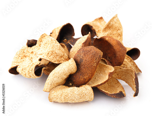 Dried tangerine peel isolated on white background