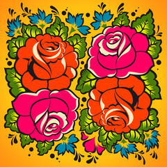 Floral Ornament in Russian style, vector Eps10 illustration.