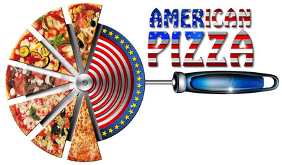 American Pizza on Cutter for Pizza