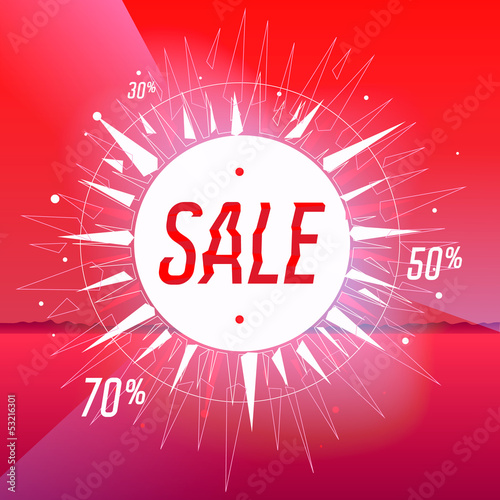 Sale poster with  star on red, vector Eps10 illustration.