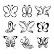 Set of butterfly silhouettes vector llustration