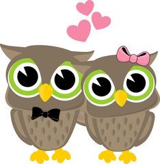 owl couple cartoon