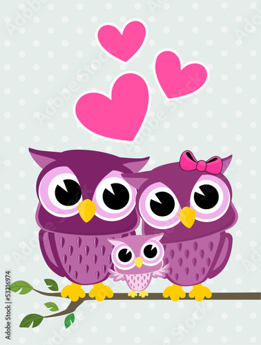 Naklejka owls family love